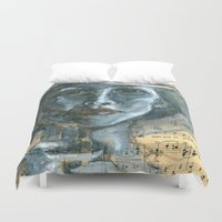 cafe Duvet Covers featuring Cafe by Spinning Daydreams