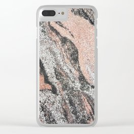 Pastel coral gray white abstract vintage marble Clear iPhone Case