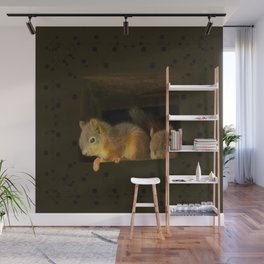 Young squirrels peering out of a nest #decor #buyart #society6 Wall Mural