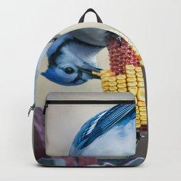 Blue Jay on corn cob Backpack