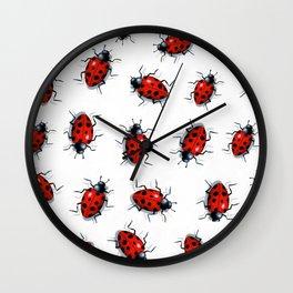 Ladybug Pattern, Original Art, Ladybirds on White Wall Clock
