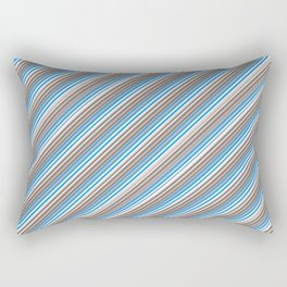 Blue Grey White Inclined Stripes Rectangular Pillow