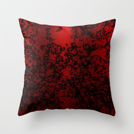 Red and black abstract decorative floral arabesque motif with metallic look Throw Pillow
