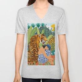 Awaken The Tiger Within Illustration, Wildlife Nature Wall Decor, Jungle Human Nature Connection Unisex V-Neck