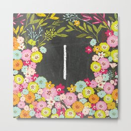 I botanical monogram. Letter initial with colorful flowers on a chalkboard background Metal Print