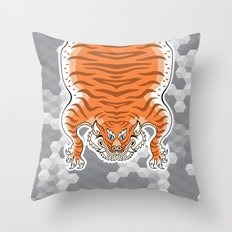 TIBETAN TIGER GOLDEN (white) Throw Pillow