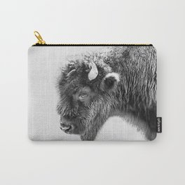 Animal Photography | Bison Portrait | Black and White | Minimalism Carry-All Pouch