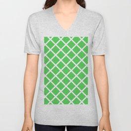 Criss-Cross (White & Green Pattern) Unisex V-Neck