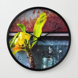 yellow euphorbia milii plant with old lusty metal background Wall Clock