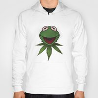 kermit Hoodies featuring Stoner Kermit The Frog  by Jonathan T. Burton