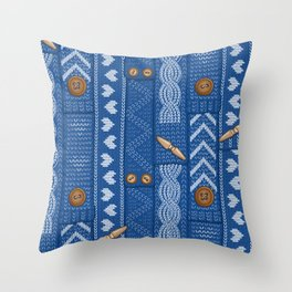 Scarves Knitted Buttoned - Blue Throw Pillow