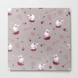 Magic moments with cute bunnies beige Metal Print