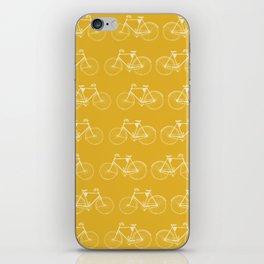 Saffron-Yellow Vintage Bicycle Pattern iPhone Skin