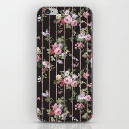 Elegant faux rose gold black stripes vintage blush pink lavender floral iPhone Skin