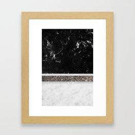 Black and White Marble Silver Glitter Stripe Glam #1 #minimal #decor #art #society6 Framed Art Print