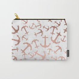 Modern faux rose gold anchors pattern white marble Carry-All Pouch