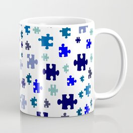 Jigsaw pieces of bluish colors. Coffee Mug