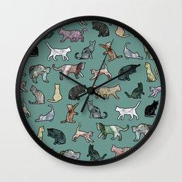 Cats shaped Marble - Green Wall Clock