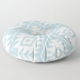 Aztec Symbol Ptn White on Duck Egg Blue Floor Pillow