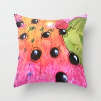 hot pink Throw Pillows featuring hot pink by Mojca G. Vesel