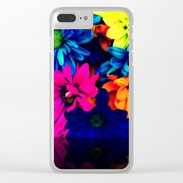 Neon Daisies Clear iPhone Case