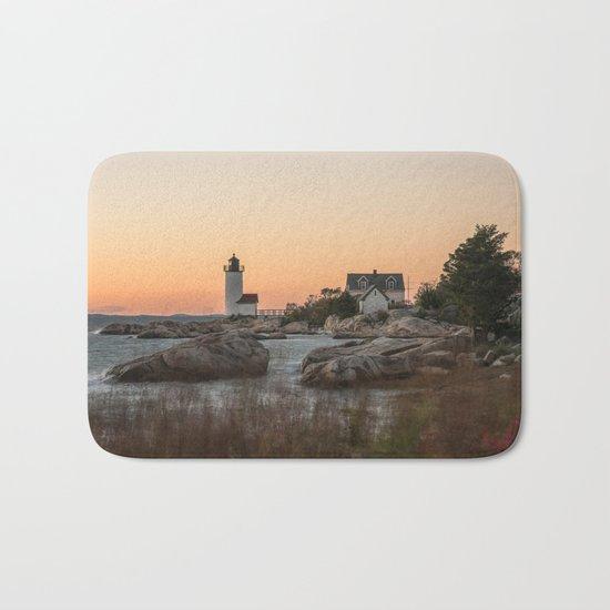 Autumn Lighthouse at sunset Bath Mat
