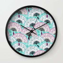 Oriental Hand Fan Pattern Wall Clock