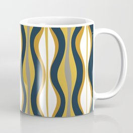 Hourglass Abstract Mid Century Modern Retro Pattern in Mustard Yellow, Navy Blue, Grey, and White Coffee Mug