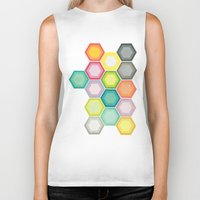honeycomb Biker Tanks featuring Honeycomb Layers by Cassia Beck