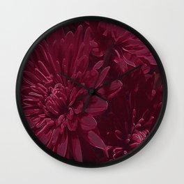 Burgundy Chrysanthemums Wall Clock