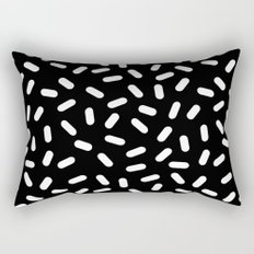 Bingo - black and white sprinkle retro modern pattern print monochromatic trendy hipster 80s style Rectangular Pillow