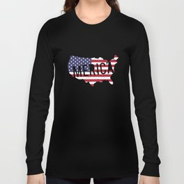 Merica Flag Map America Patriotic 4Th Of July Stars Stripes Usa Veteran T-Shirts Long Sleeve T-shirt