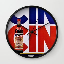 Vintage 'Cin Cin' Italian Cordial Cinzano Advertisement Poster Wall Clock