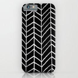 Hand Drawn Herringbone Pattern (white/black) iPhone Case
