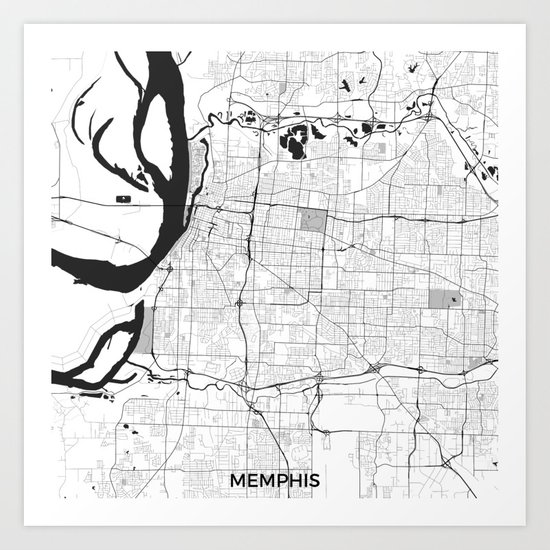 Memphis Map Gray Art Print