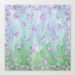 Petunias over Blue and Green with Scalloped Border Canvas Print