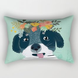 PUPPY DOG WITH FLOWERS Rectangular Pillow
