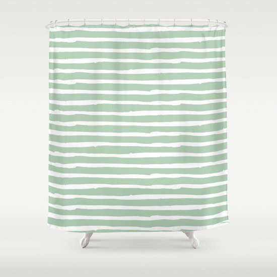 Elegant Stripes Pastel Cactus Green And White Shower