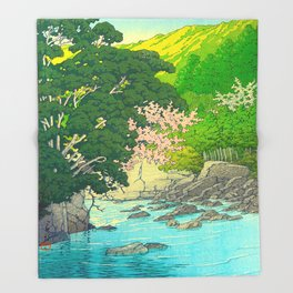 Vintage Japanese Woodblock Print Beautiful Water Creek Grey Rocks Green Trees Throw Blanket