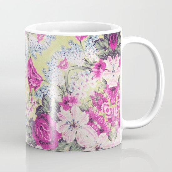 Trendy Vintage Purple Teal Floral Fashion Pattern Mug