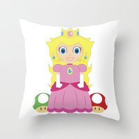 princess peach Throw Pillows featuring Princess Peach by Xiao Twins