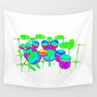 drum Wall Tapestries featuring Colorful Drum Kit by PhantomLiving