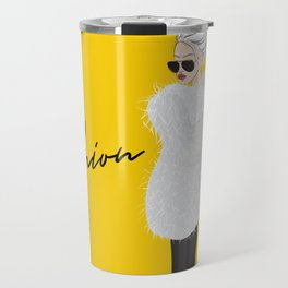 Girl in fluffy fur Travel Mug