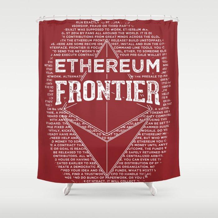 Ethereum Frontier Dark Red Shower Curtain