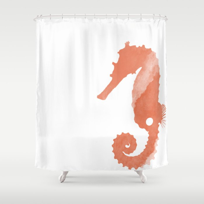 Watercolor Seahorse Shower Curtain
