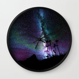 Colorful Milky Way Landscape Teal Violet Wall Clock