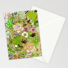 Detailed summer floral pattern, green Stationery Cards