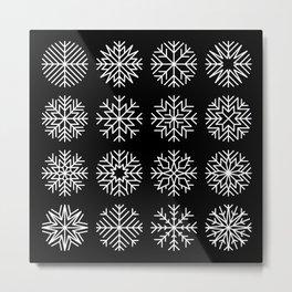 minimalist snow flakes on black Metal Print