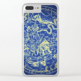 Yellow on Blue Infinity Vintage Astrology Star Map Clear iPhone Case