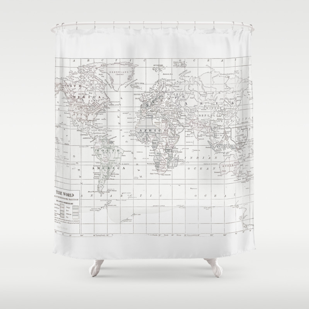 Treasure map shower curtain - Black And White World Map Shower Curtain Black And White World Map Shower Curtain 41